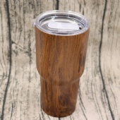 Double wall stainless steel vacuum wood grain tumbler with lid