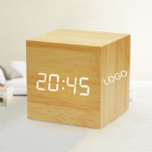 Intelligent Voice Control LED Wooden Creative Alarm Clock