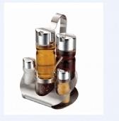 Stainless Steel Plastic Cruet Set Castor Salt Oil Vinegar
